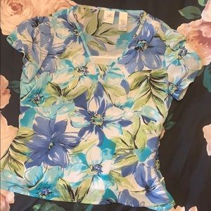 Blue and green flowered top